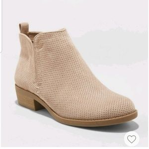 Microsuede Booties with Side Zipper